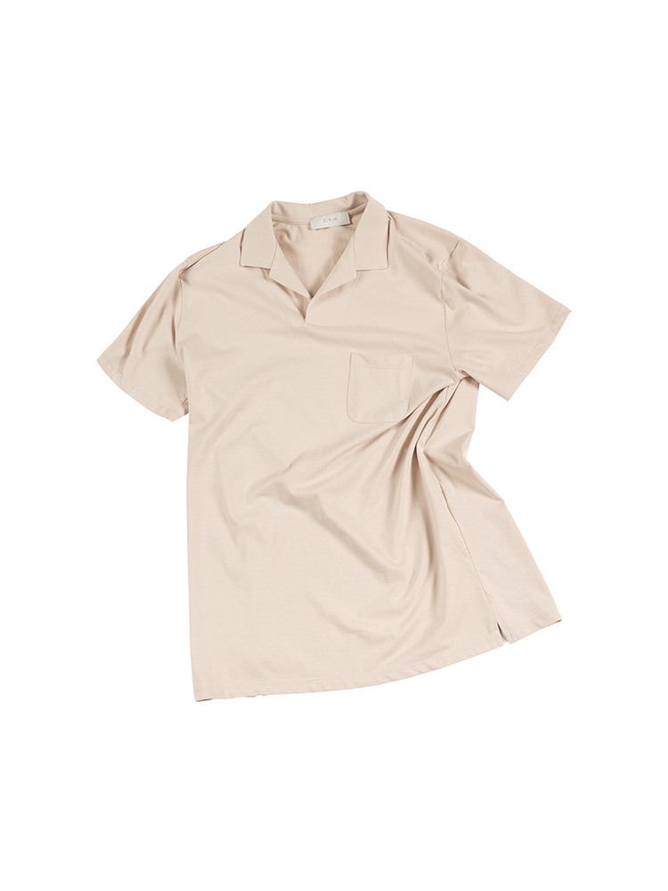 GENTLE Open Collar Polo Shirts - BeigeOLDbe(올드비)