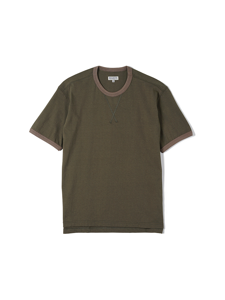 FLB Cotton Round Neck T-shirt Half - OliveBANTS(반츠)