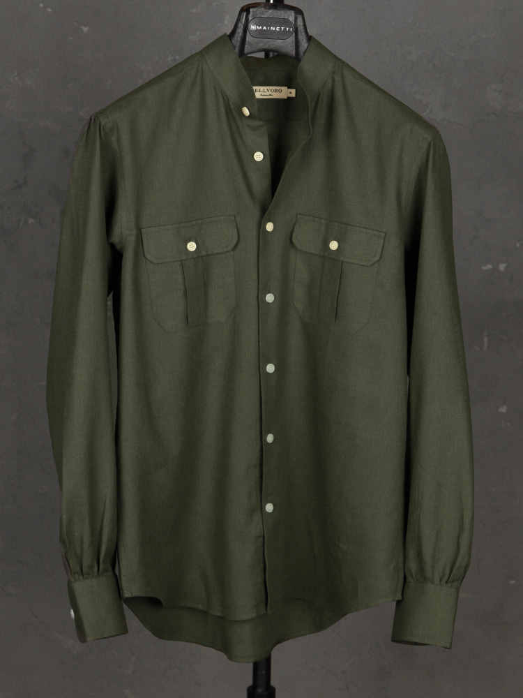 Linen/Cotton Safari Shirts - Olive GreenBELLVORO(벨보로)