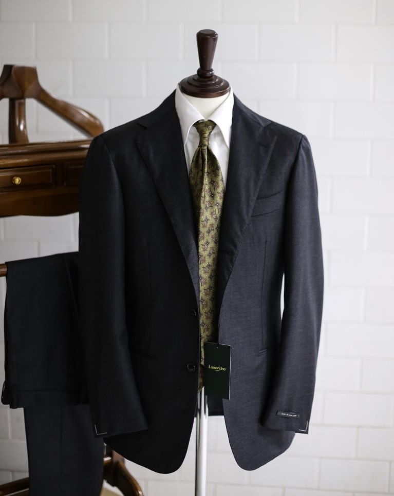 LMJ-06 charcoal gray sharskin SUITLamarche Napoli made by RingJacket라마르쉐나폴리