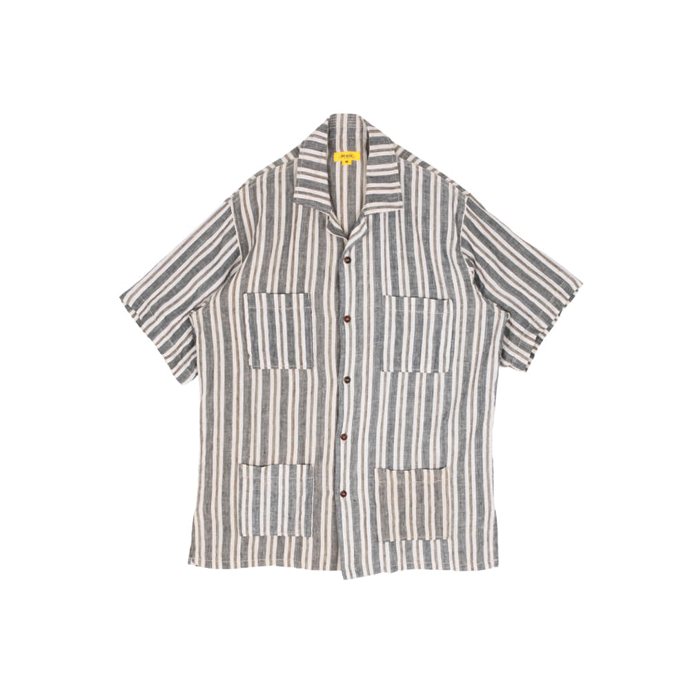STRIPED LINEN PAPA SHIRT [NAVY]THE RESQ(더레스큐)