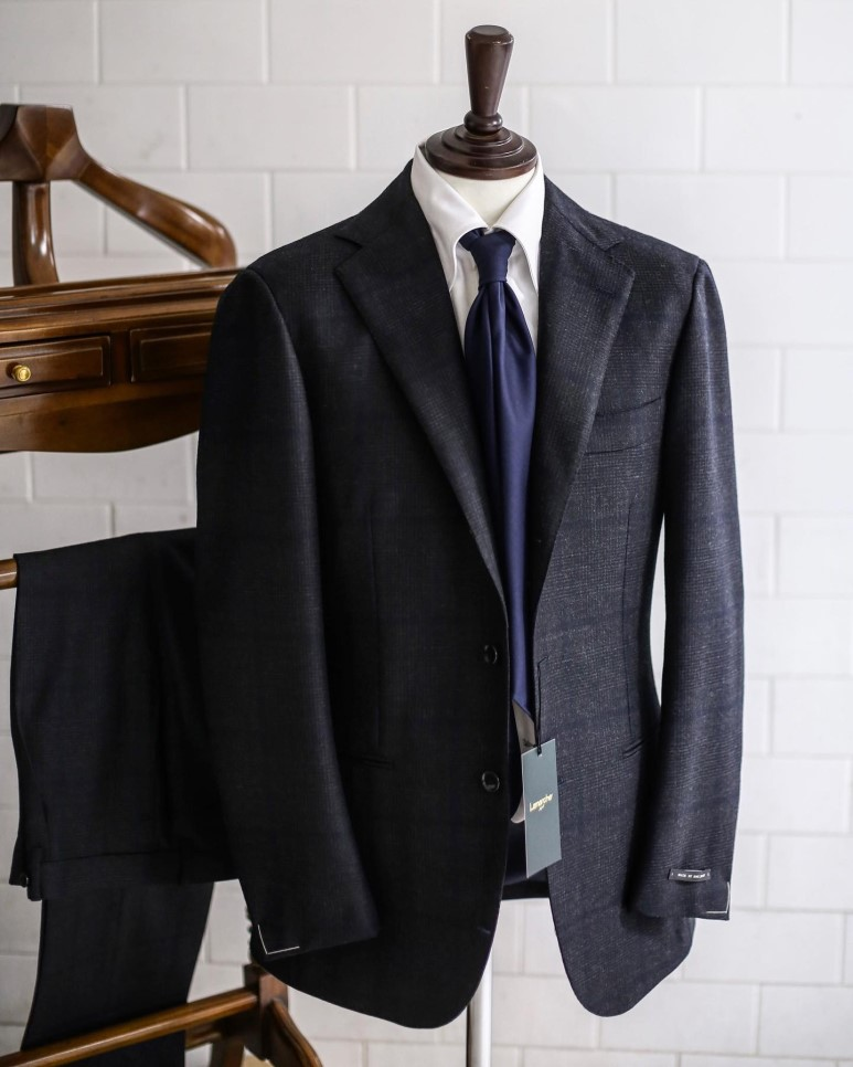 LMJ-06 charcoal glen check X navy windowpane SUITLamarche Napoli made by RingJacket라마르쉐나폴리