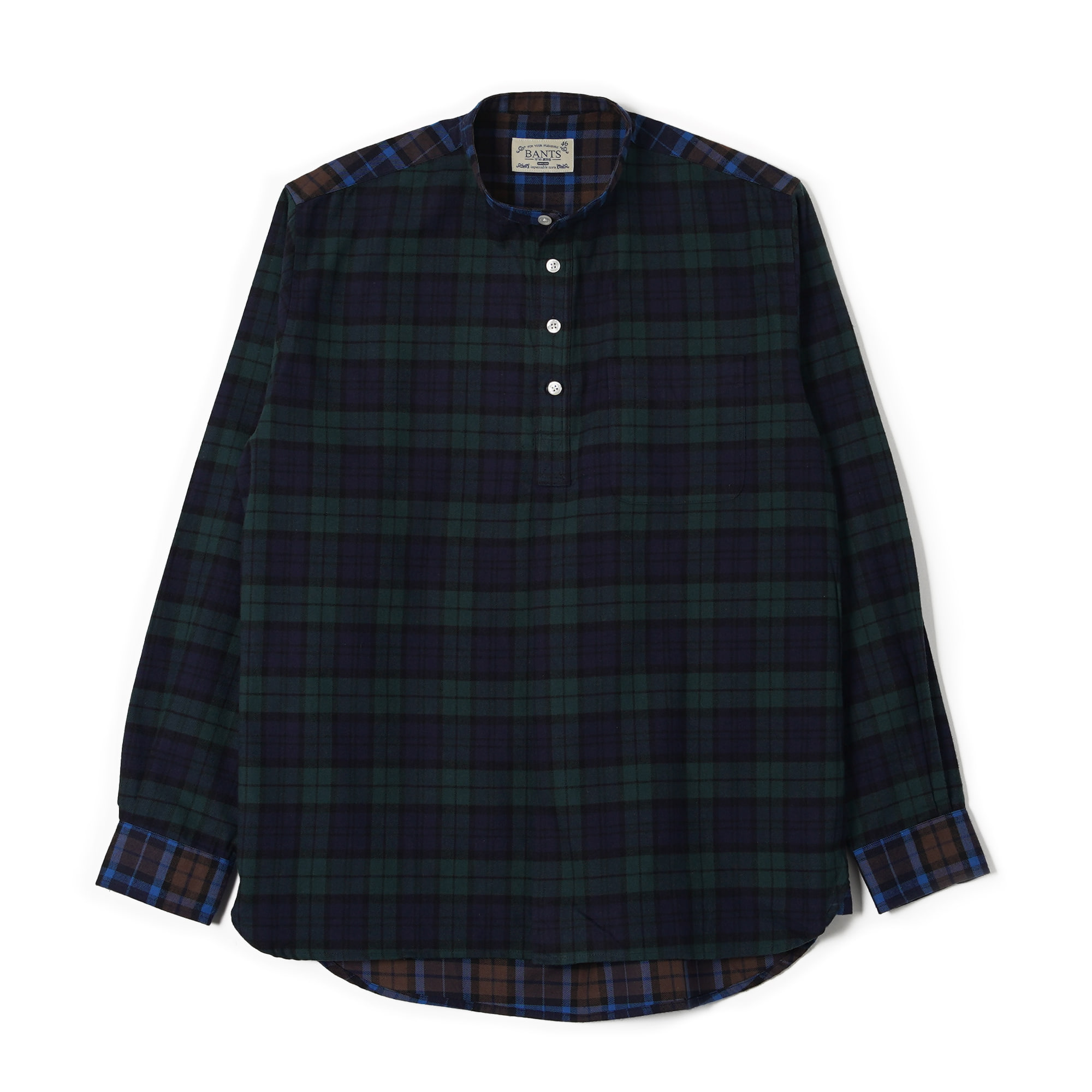 OSF Check Flannel Collarless Pullover Shirt - BlackwatchBants(반츠)