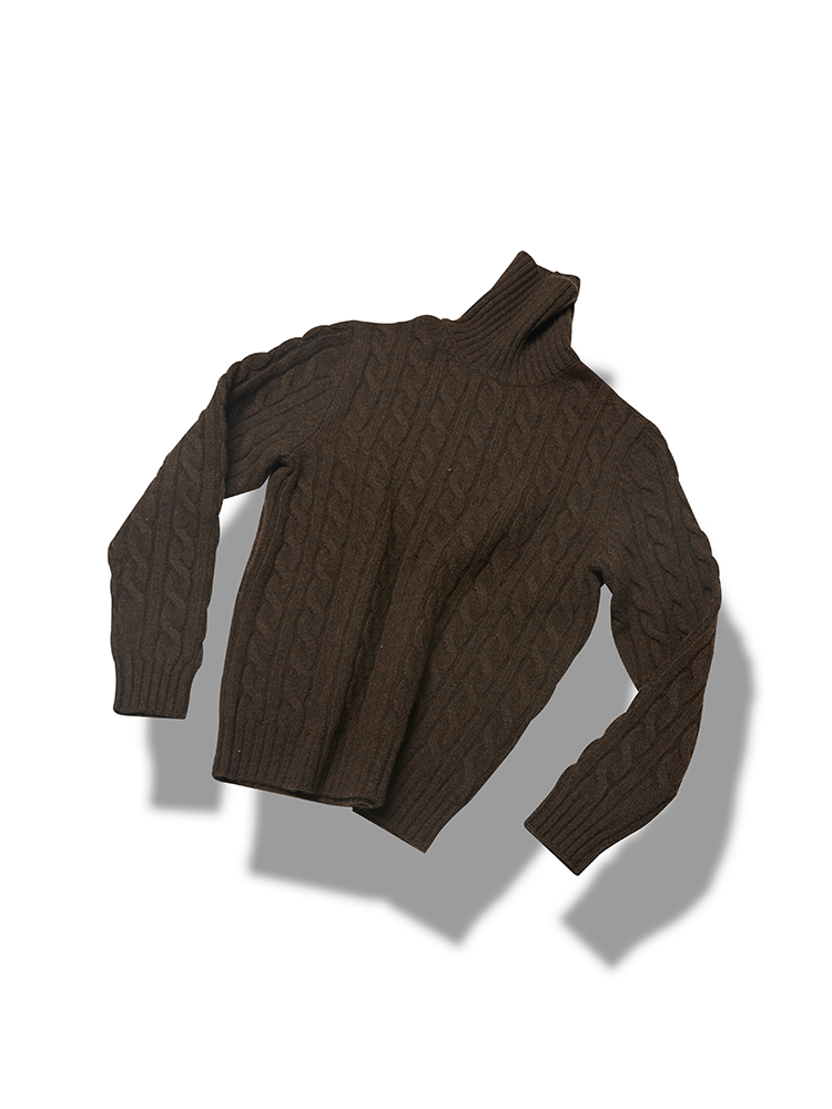 5g 5ply Cable turtleneck_BrownVERNO(베르노)