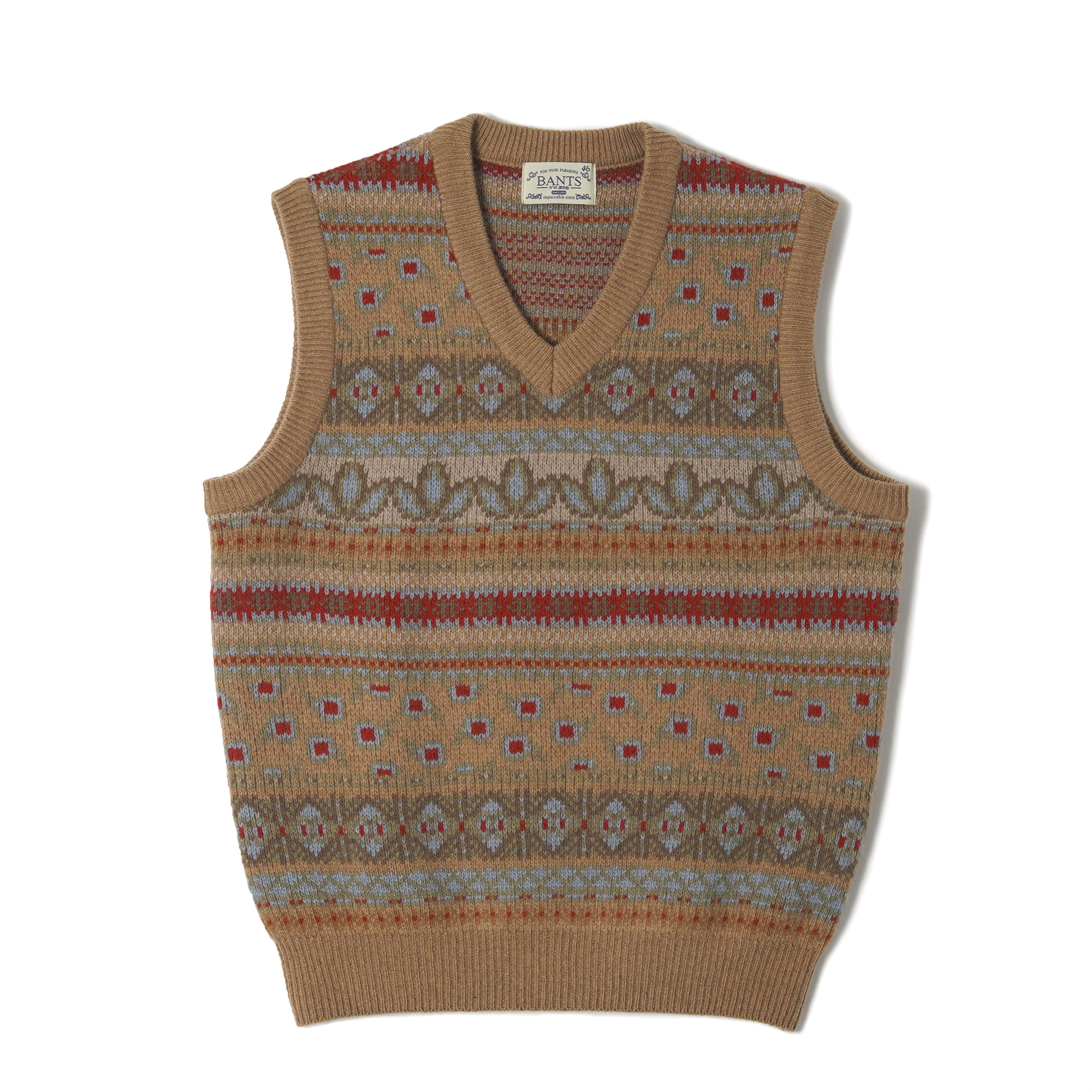 OSF Tasmania Wool Fair Isle Knit Vest - BeigeBANTS(반츠)