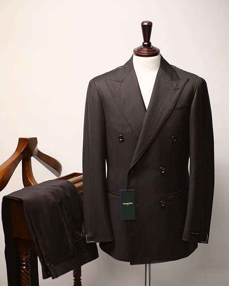20 S/S Dark brown herringbone Double SUITLamarche Napoli라마르쉐 나폴리