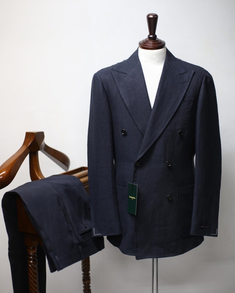 20 S/S Dark navy Linen Double SUITLamarche Napoli라마르쉐나폴리