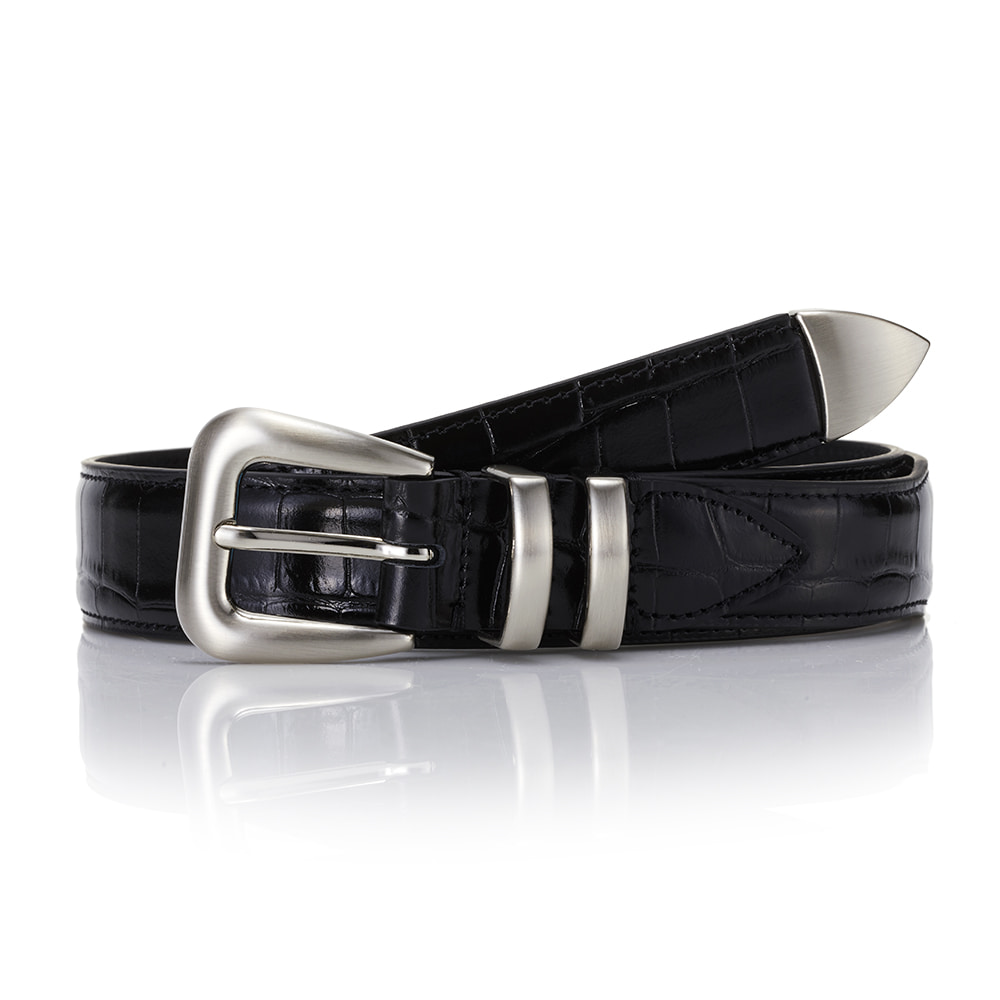 110 Leather Belt - Black (Crocodile-Embossed)SAVAGE(세비지)