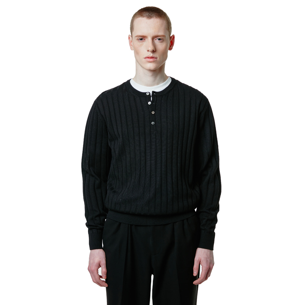Henley neck knit - BlackSAVAGE(세비지)