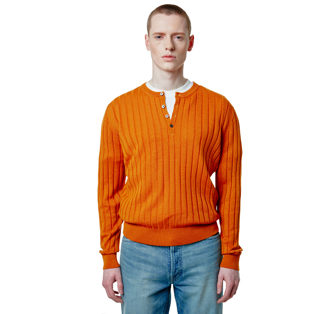 Henley Neck Knit - OrangeSAVAGE(세비지)