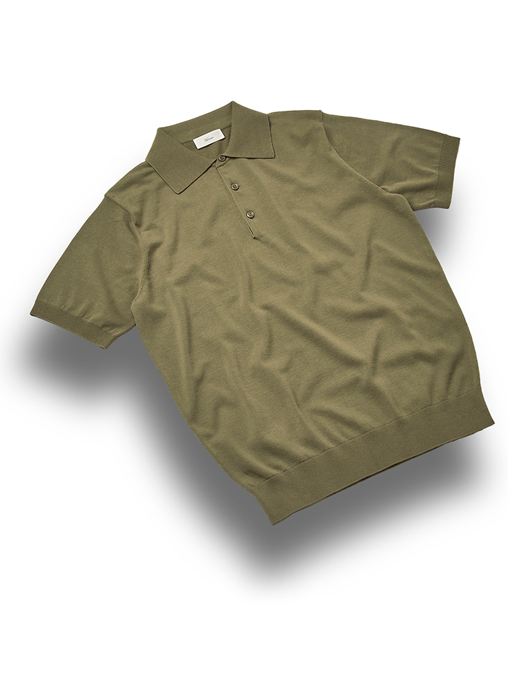 Essential_polo_knit Olive_GreenVERNO(베르노)