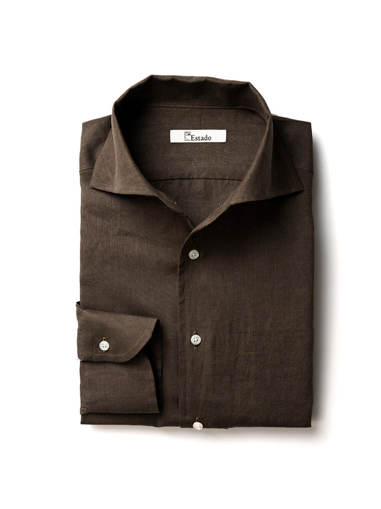 Linen shirts - One piece collar (Brown)Estado(에스타도)