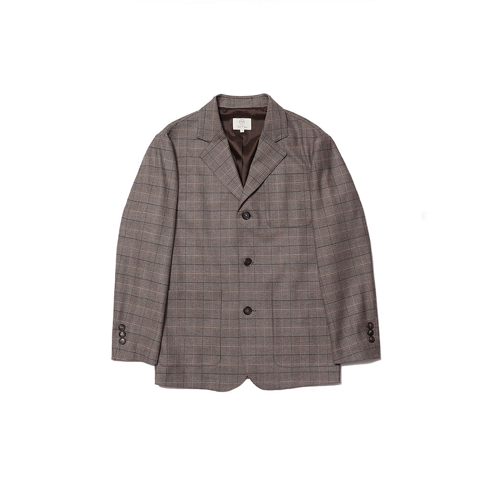 3 BUTTON SINGLE BREASTED JACKET (Brown check)Fill Chic(필시크)